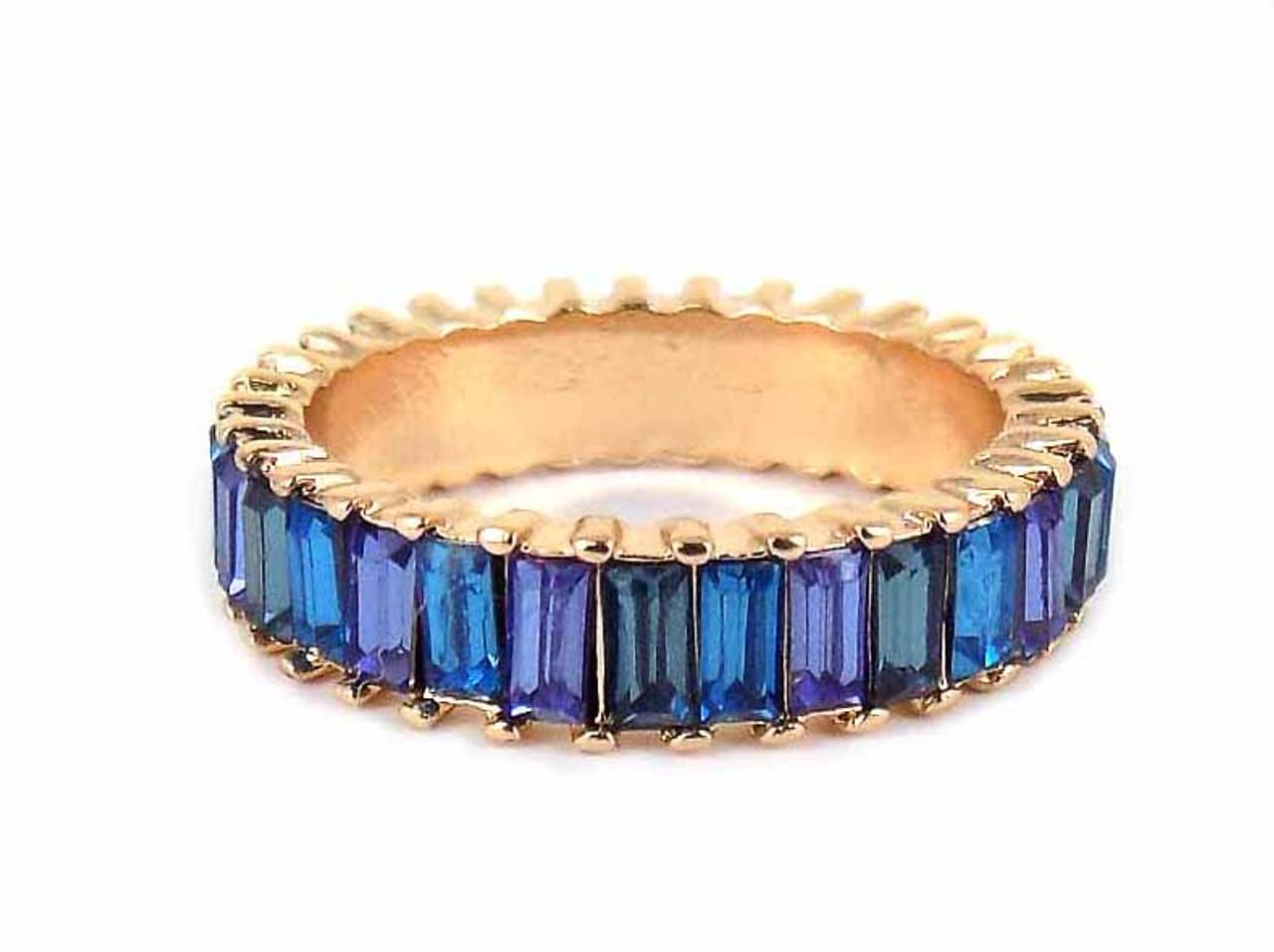 Viola Womens Blue Monochrome Crystal Ring