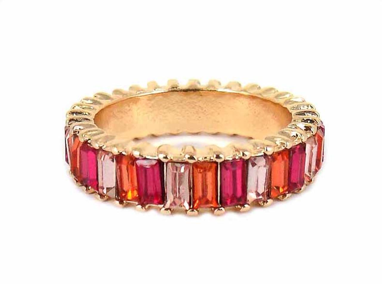 Viola Womens Fuchsia Monochrome Crystal Ring
