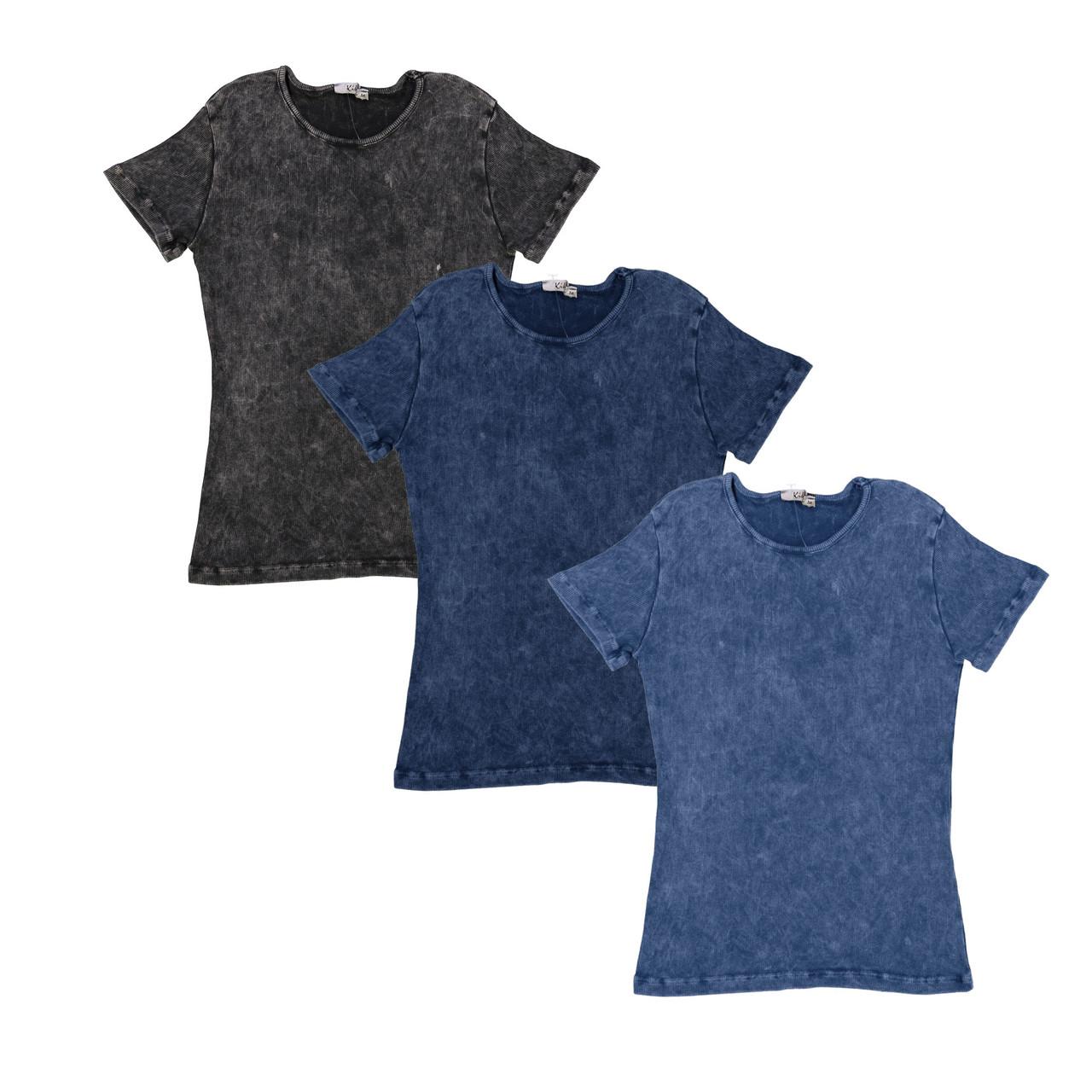 Kiki Riki Girls Ribbed Stonewash Short Sleeve T-shirt
