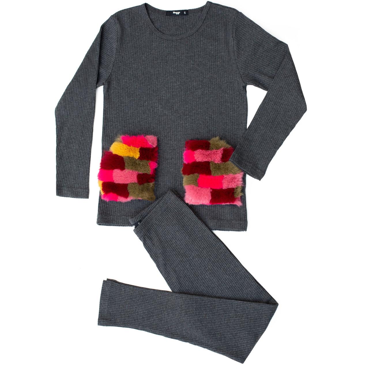 Noggi Girls Fur Patch Cotton Pajamas