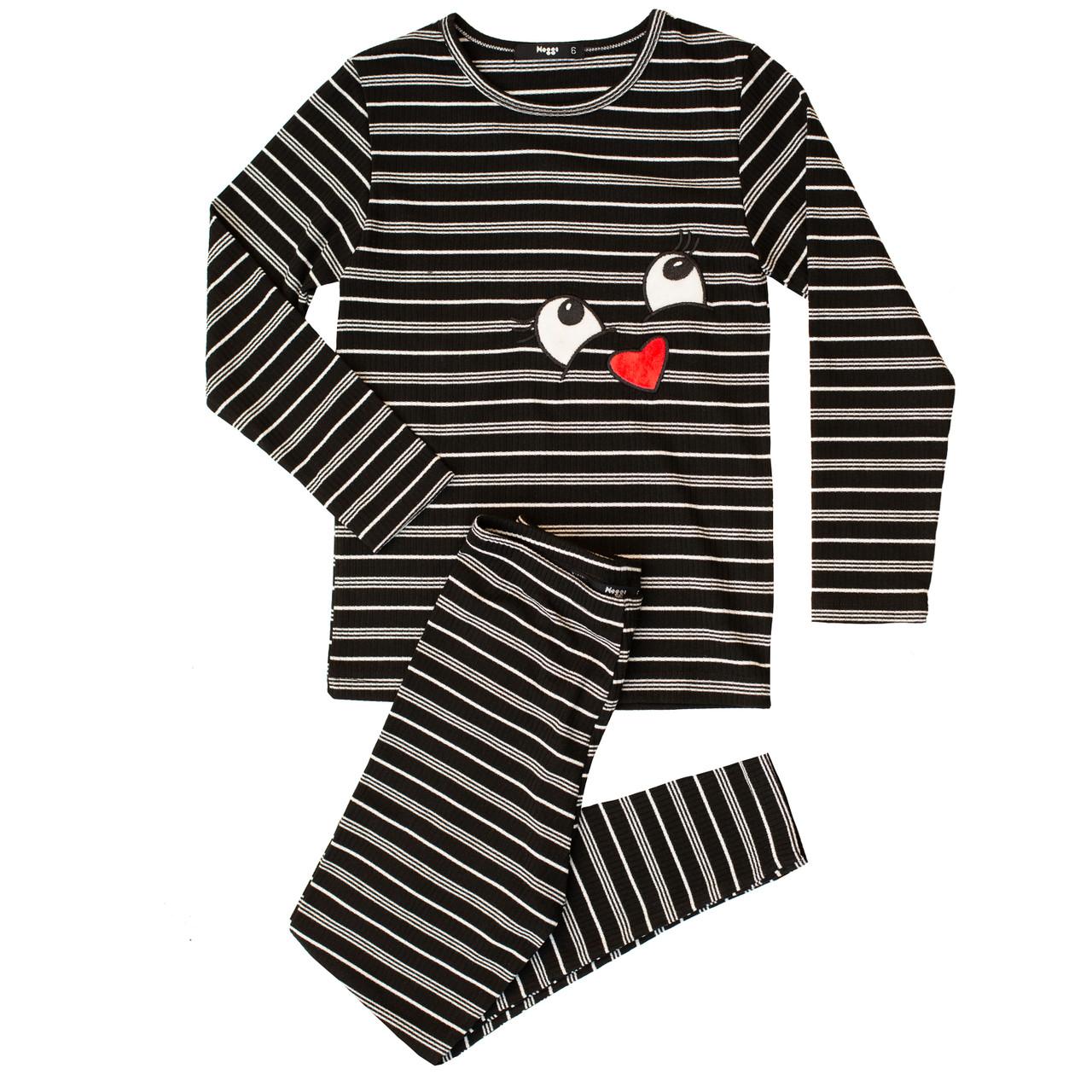 Noggi Girls Ribbed Smile Cotton Pajamas