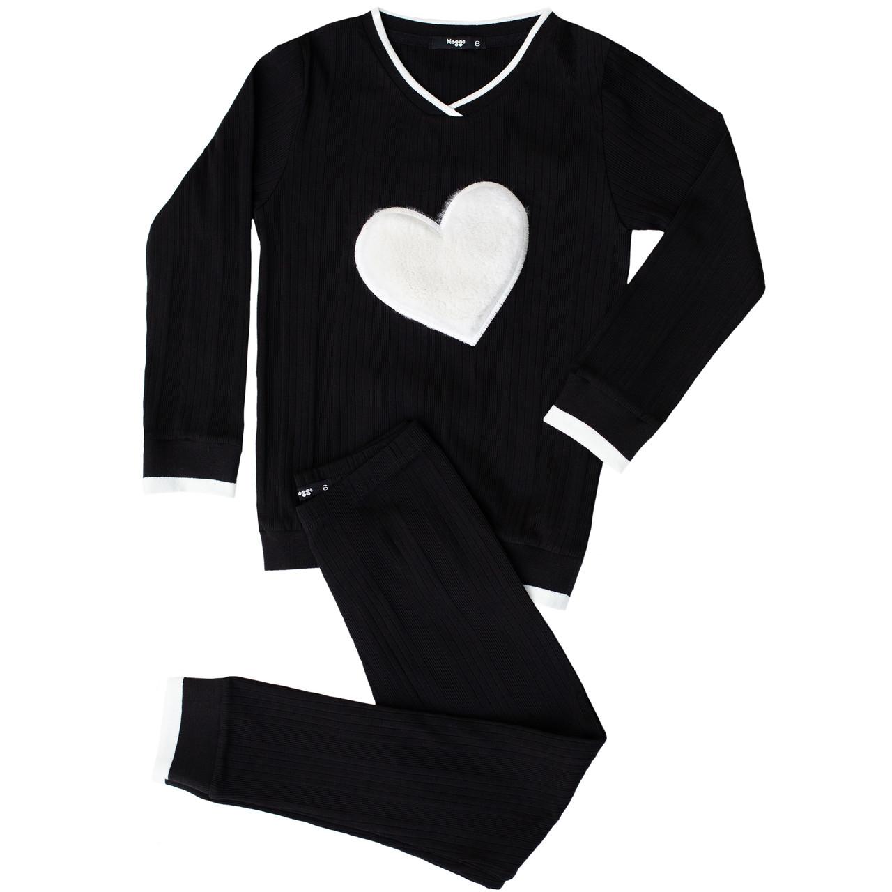 Noggi Girls Ribbed Furry Heart Cotton Pajamas
