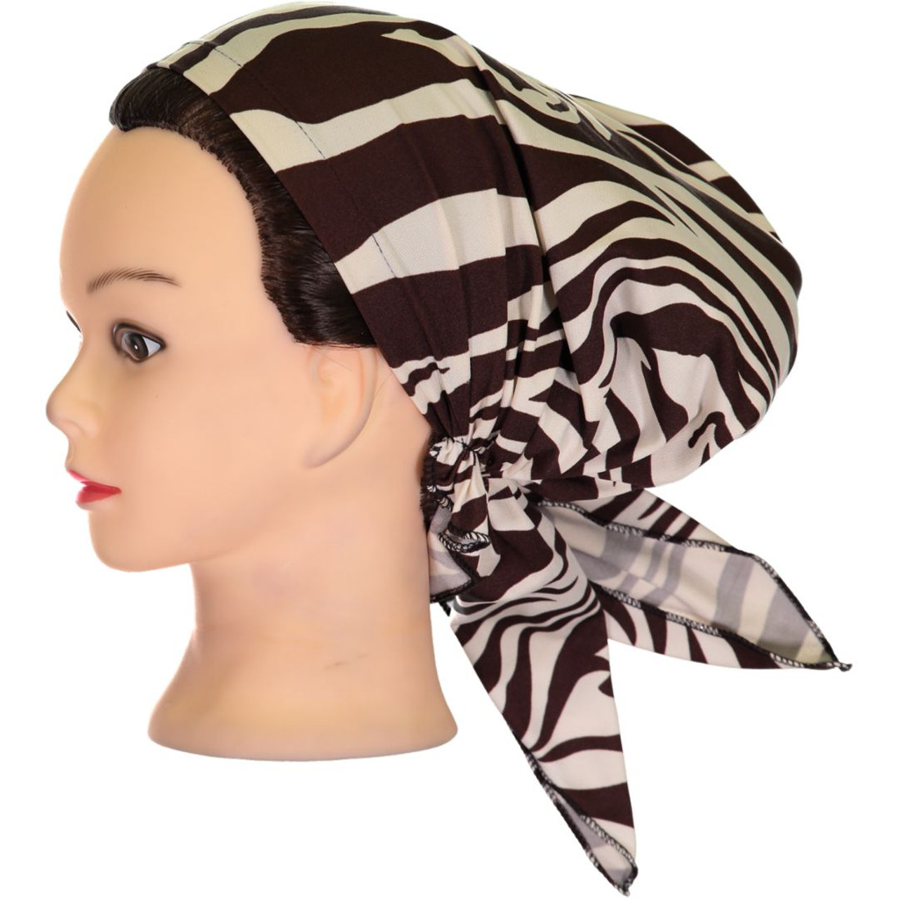 Delore Womens Brown/Tan Giraffe Pre-Tied Bandana