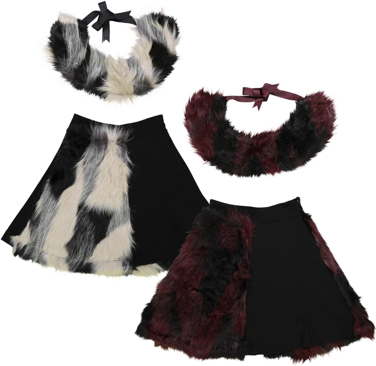 Teela Girls Half Fur Skirt With Collar - SB907