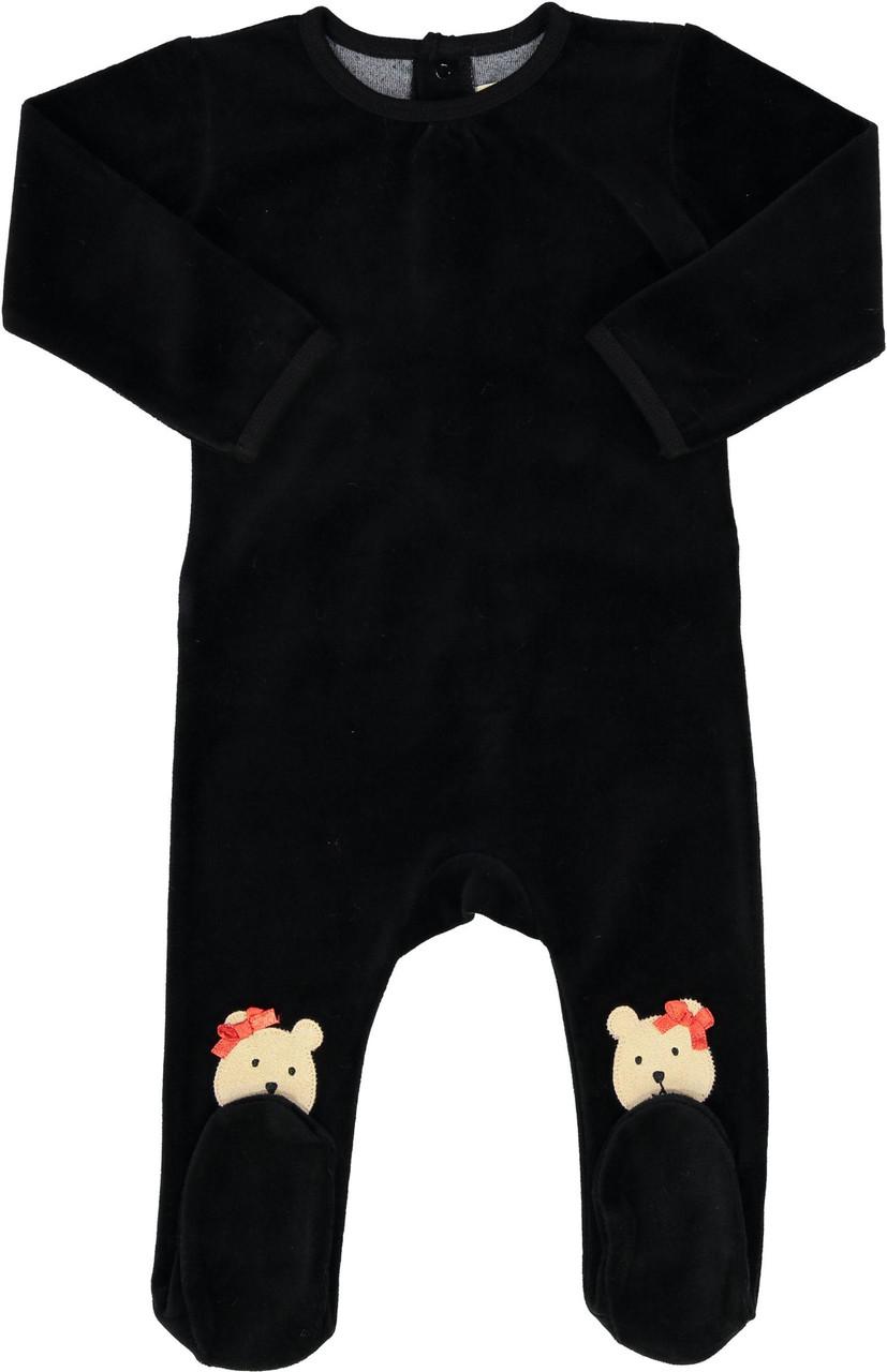 All Navy Baby Girls Velour Teddy Bear Stretchie - 85W201-G