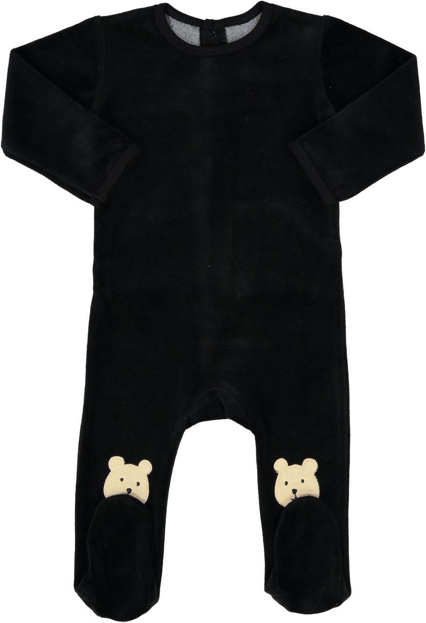 All Navy Baby Boys Velour Teddy Bear Stretchie - 85W201-B