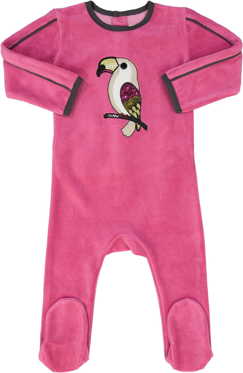 All Navy Baby Girls Velour Parrot Stretchie - 83W201-G