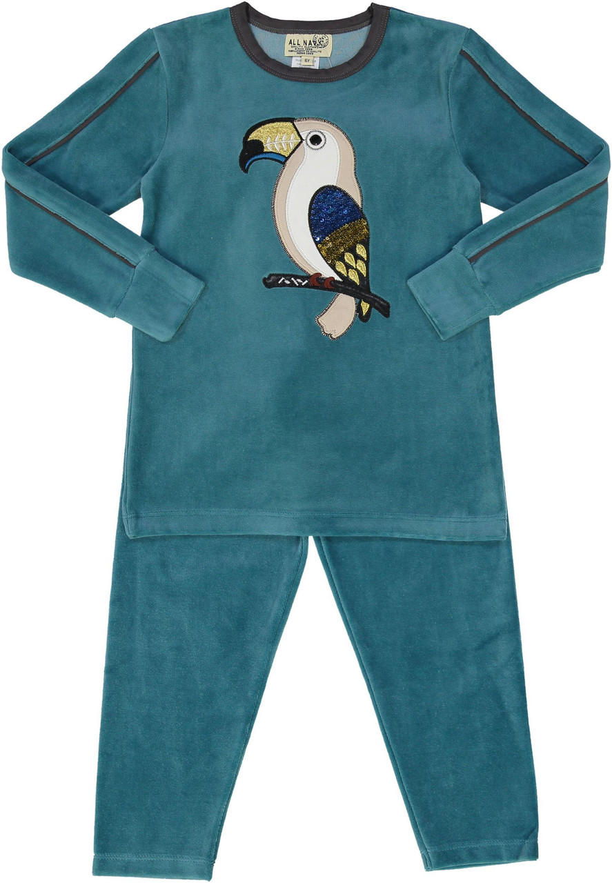 All Navy Boys Velour Parrot Pajamas - 83W202-B