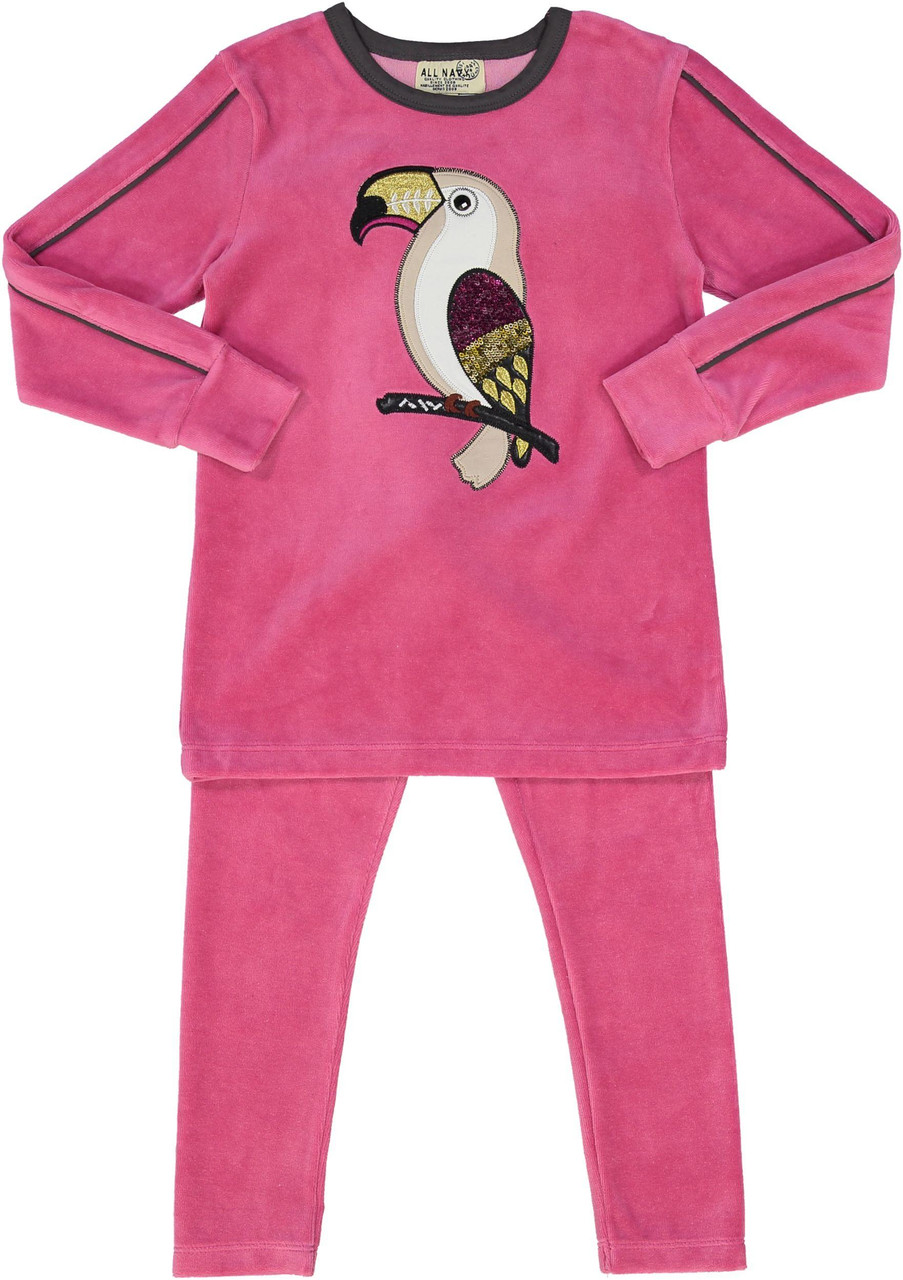 All Navy Girls Velour Parrot Pajamas - 83W202-G