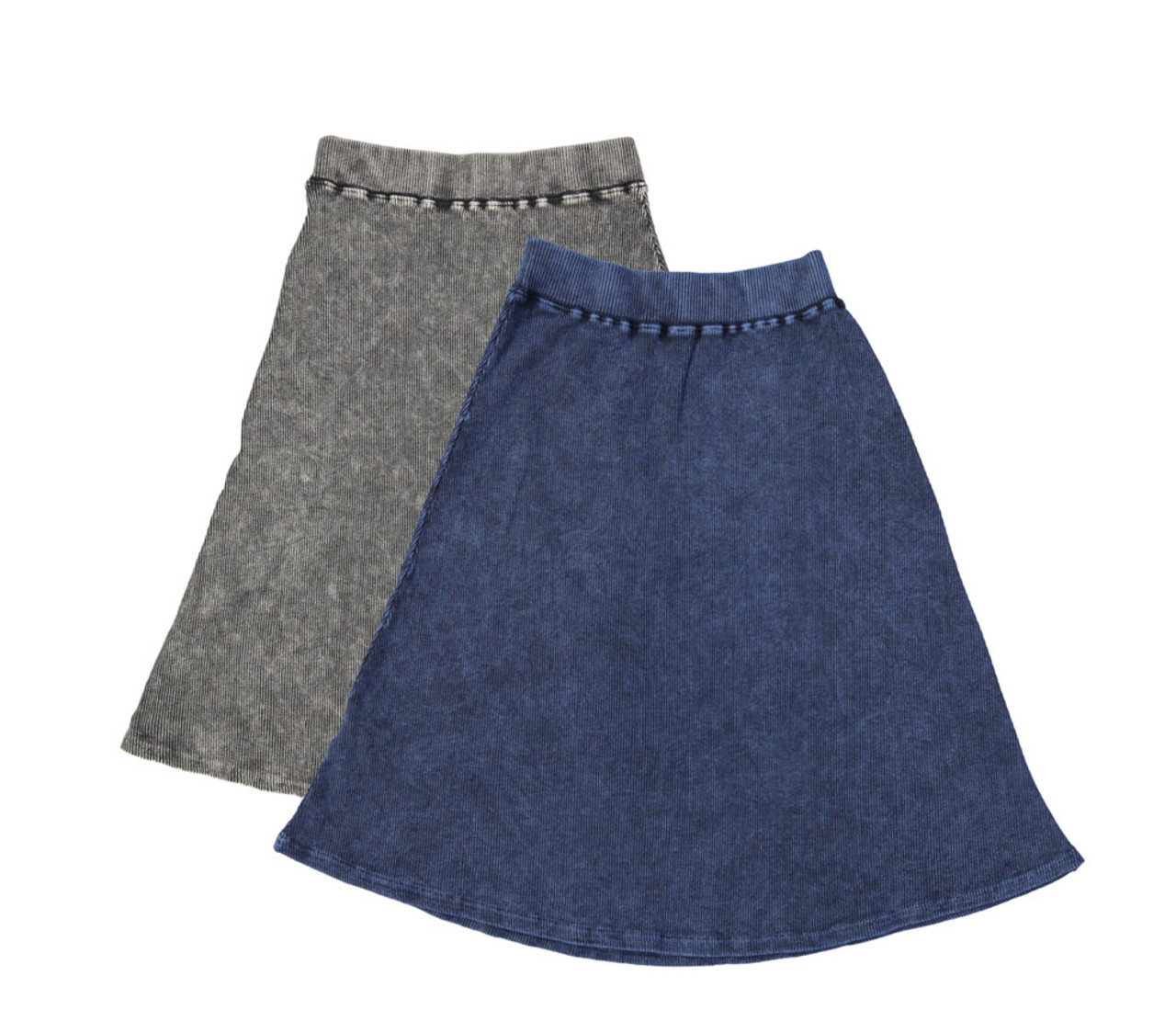 Kiki Riki Womans Thick Ribbed Stonewash A-line Skirt