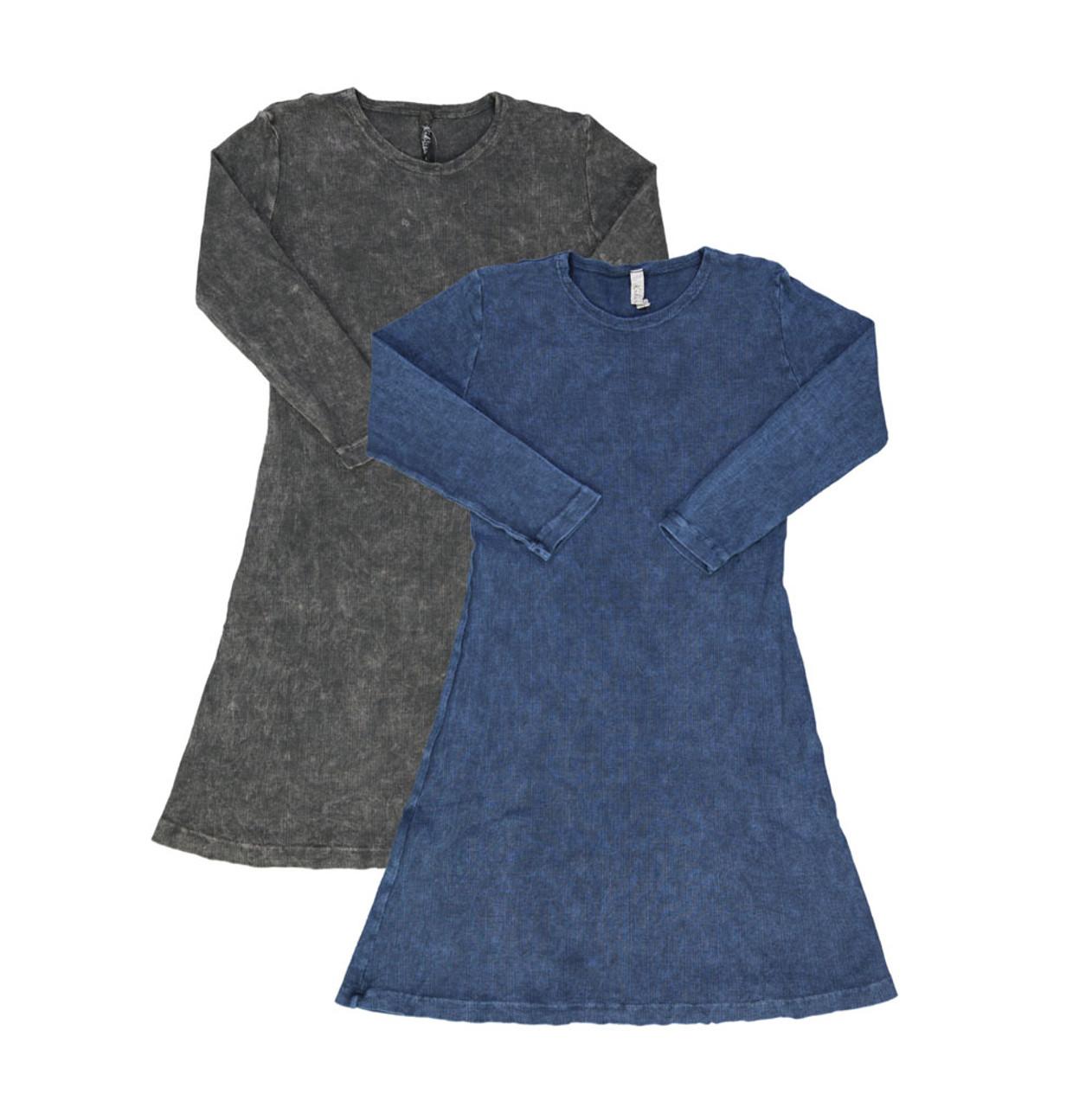 Kiki Riki Girls Ribbed Stonewash A-line Dress -3/4 Sleeve