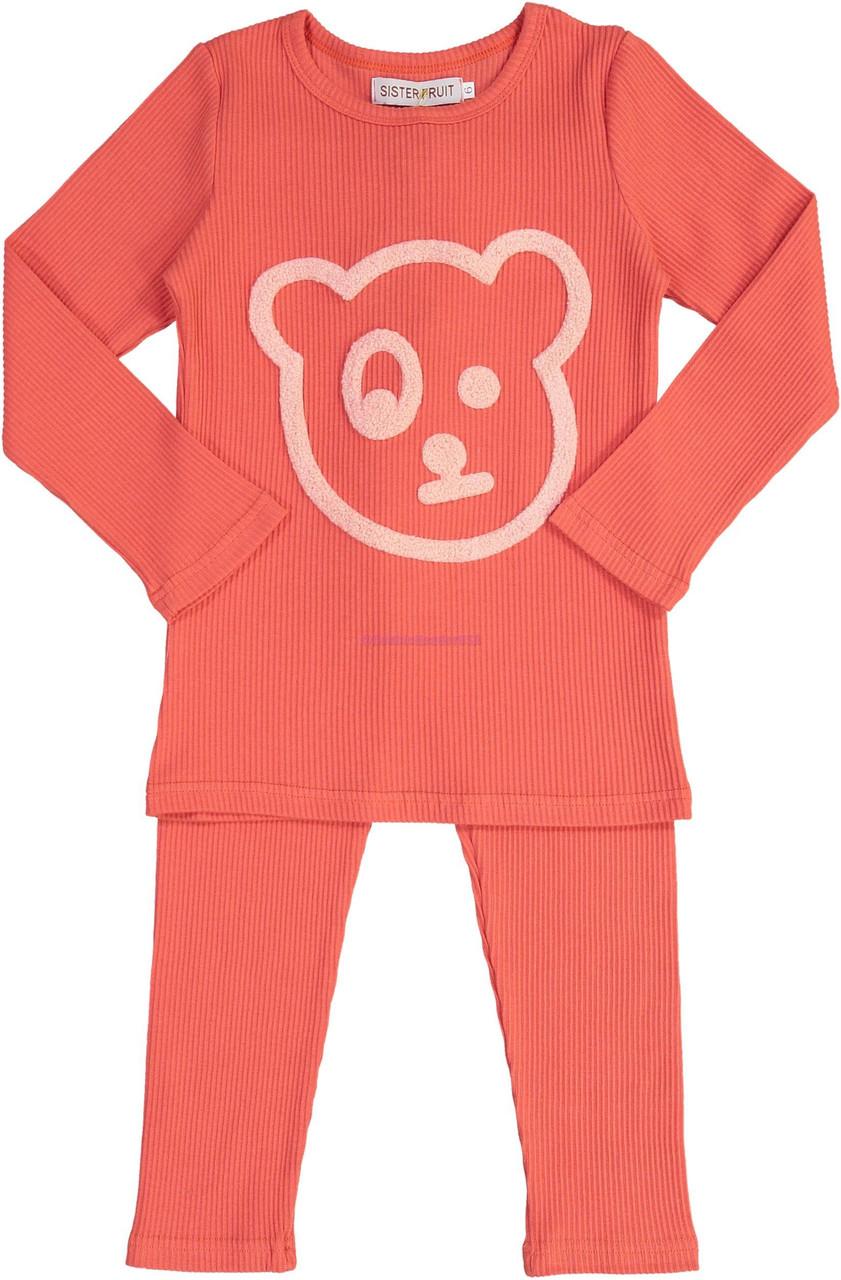 Sister Fruit Girls Ribbed Cotton Bear Pajamas - 8717