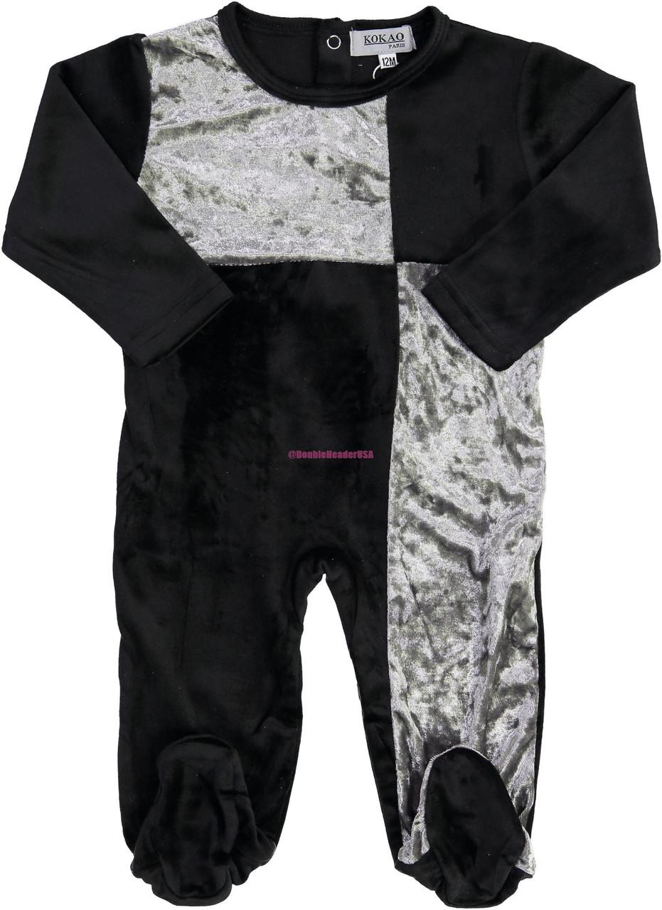 Kokao Baby Boys Girls Unisex Velour Color Block Stretchie - PN08B