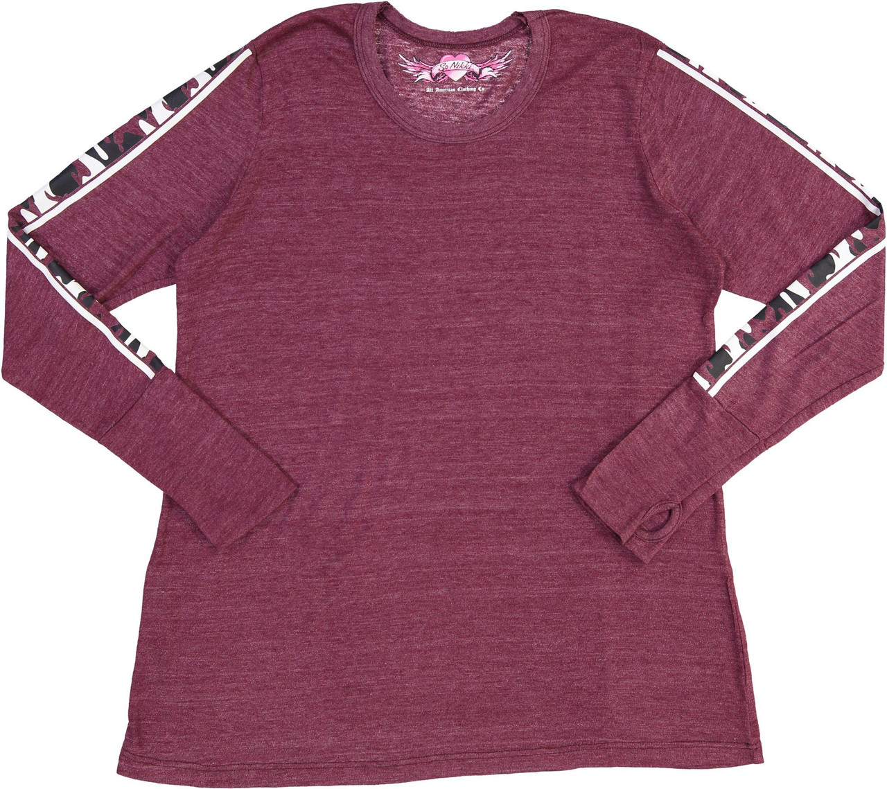 So Nikki Womens Long Sleeve Fatigue T-shirt - 1067J-P695-SLVS