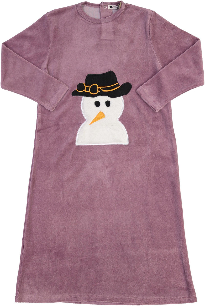 Teddy Bear Girls Velour Snowman Nightgown