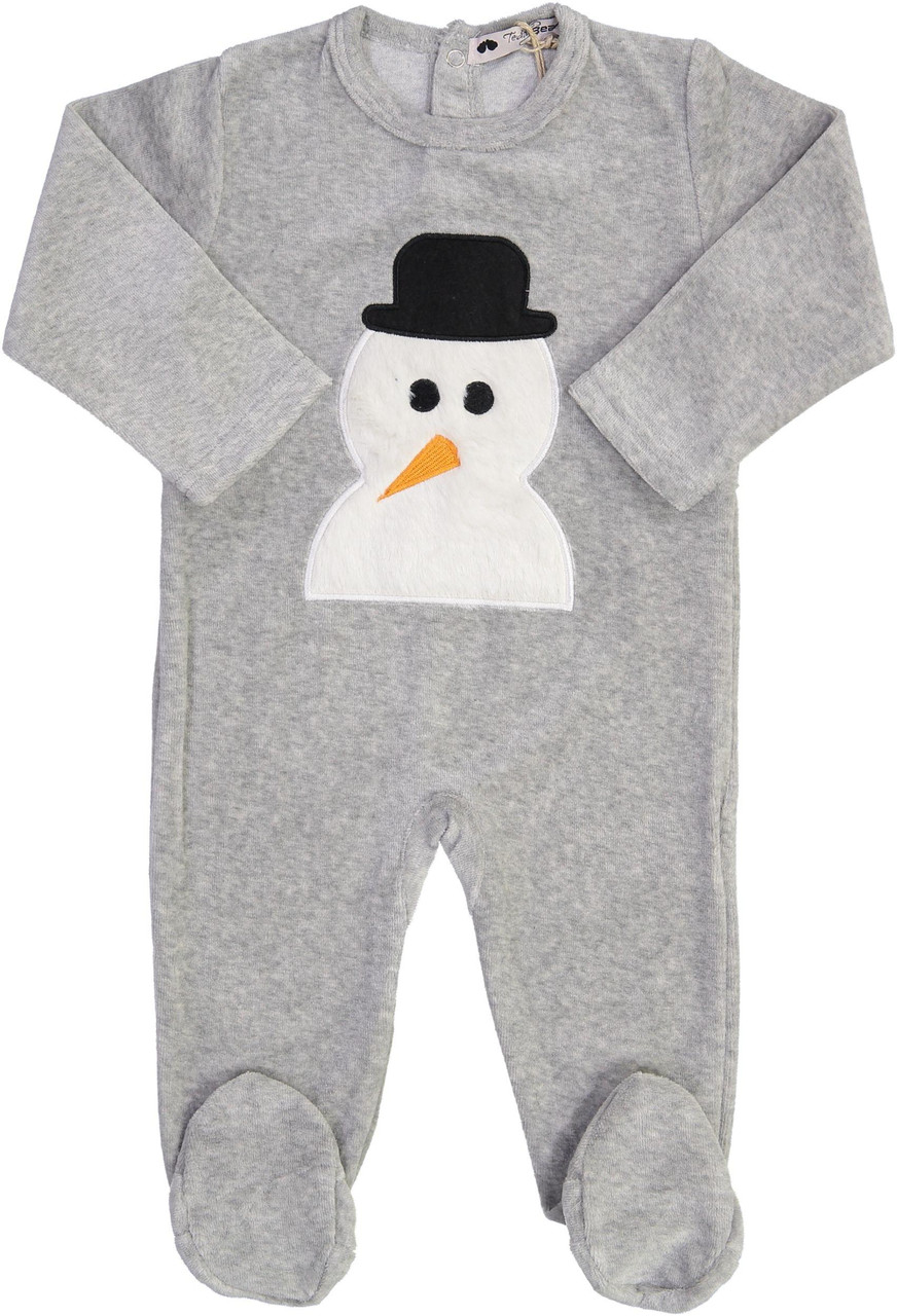 Teddy Bear Boys Velour Snowman Stretchie - CN13BB