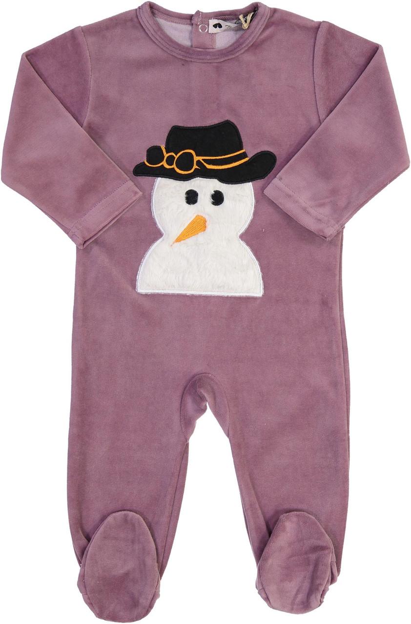 Teddy Bear Girls Velour Snowman Stretchie - CN13BG