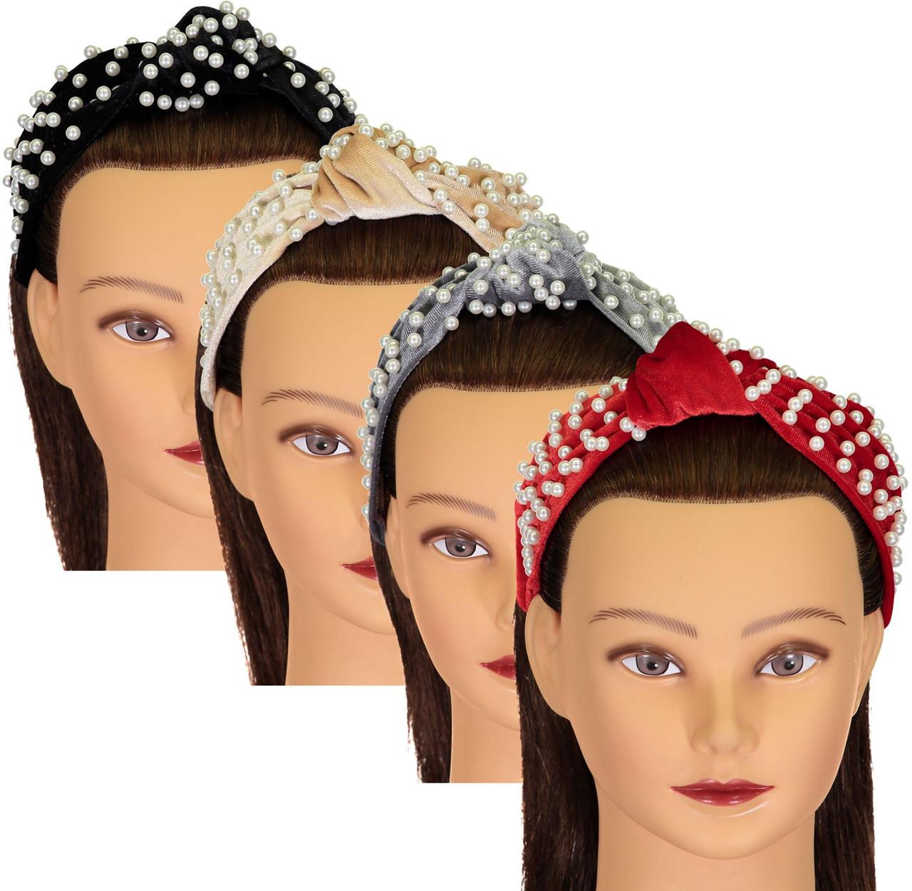 Riqki Girls Velvet Pearl Turban Knot Headband - HB1916