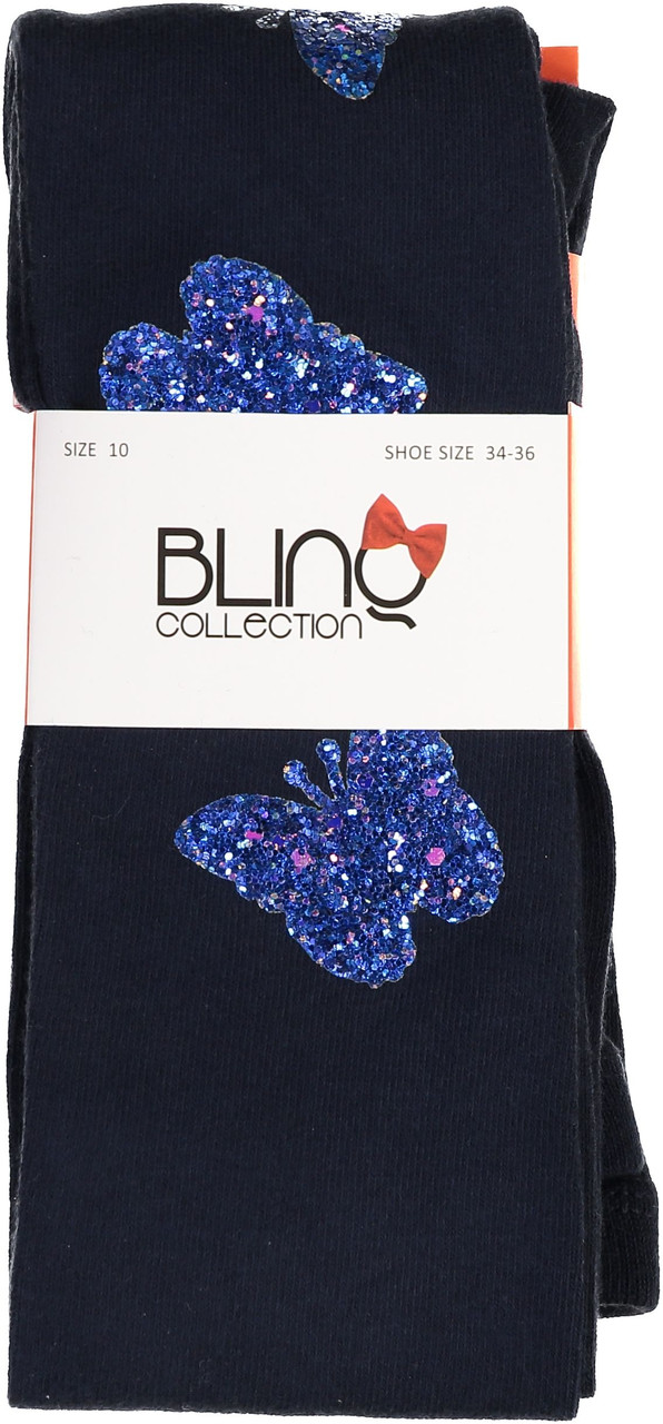 BlinQ Girls Glitter Butterfly Patch Cotton Tights - 2019519