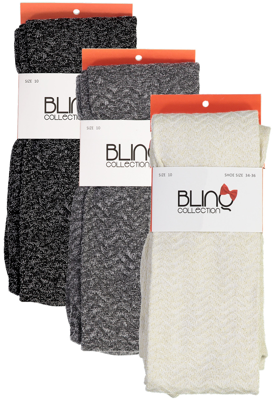 BlinQ Girls Shimmer Herringbone Cotton Tights - 2019520