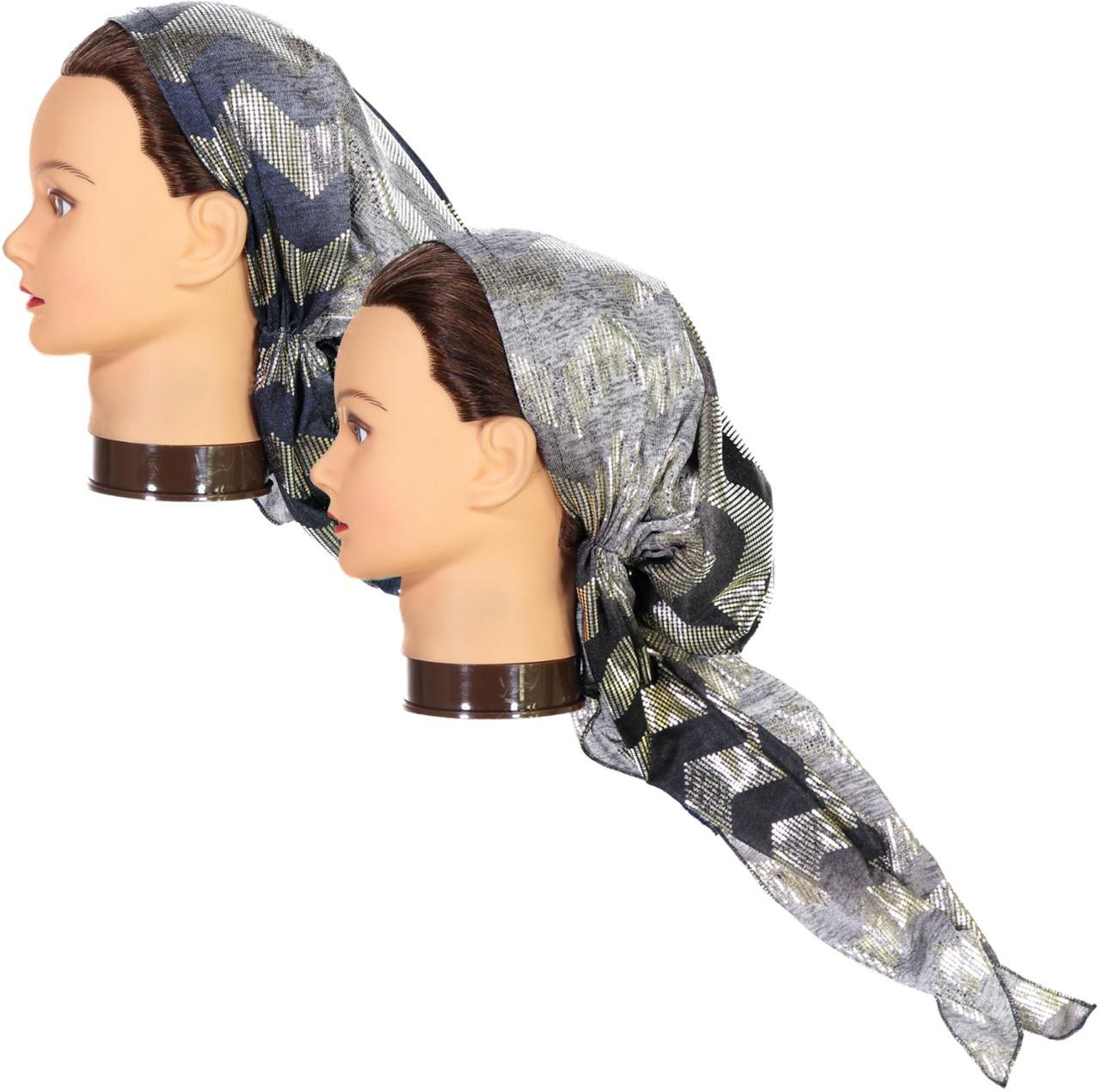 Riqki Womens Silver Chevron Pre-Tied Long Tails Bandana - PTBL1911