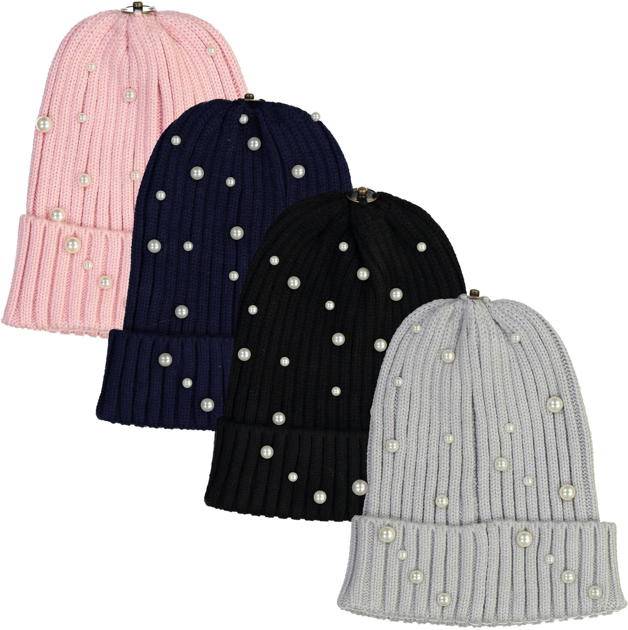 Delore Unisex Winter Hat with Pearls & Snap for Pompom - PM-19Z208