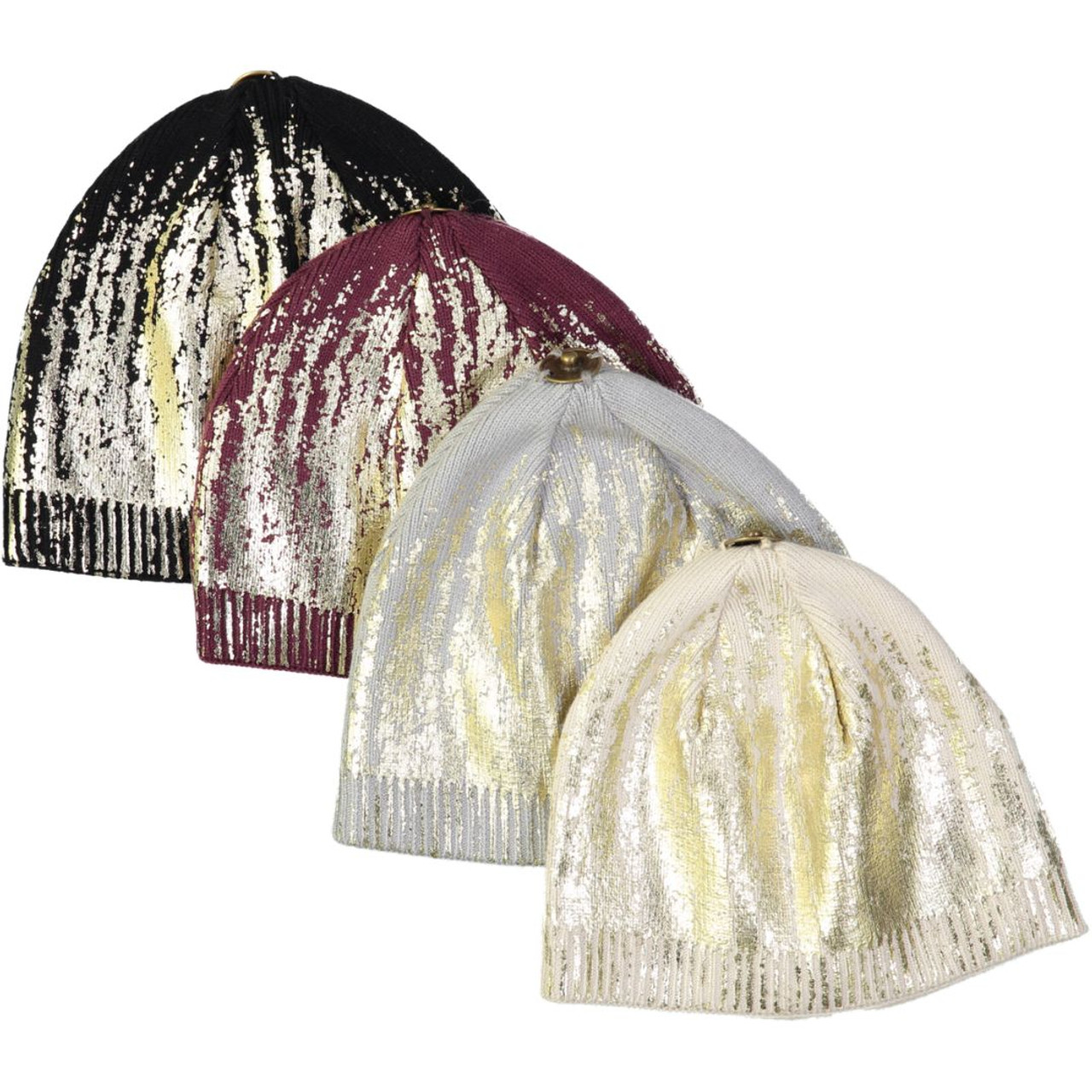 Max Colors Gold Dipped Winter Unisex Hat with Snap for Pompom