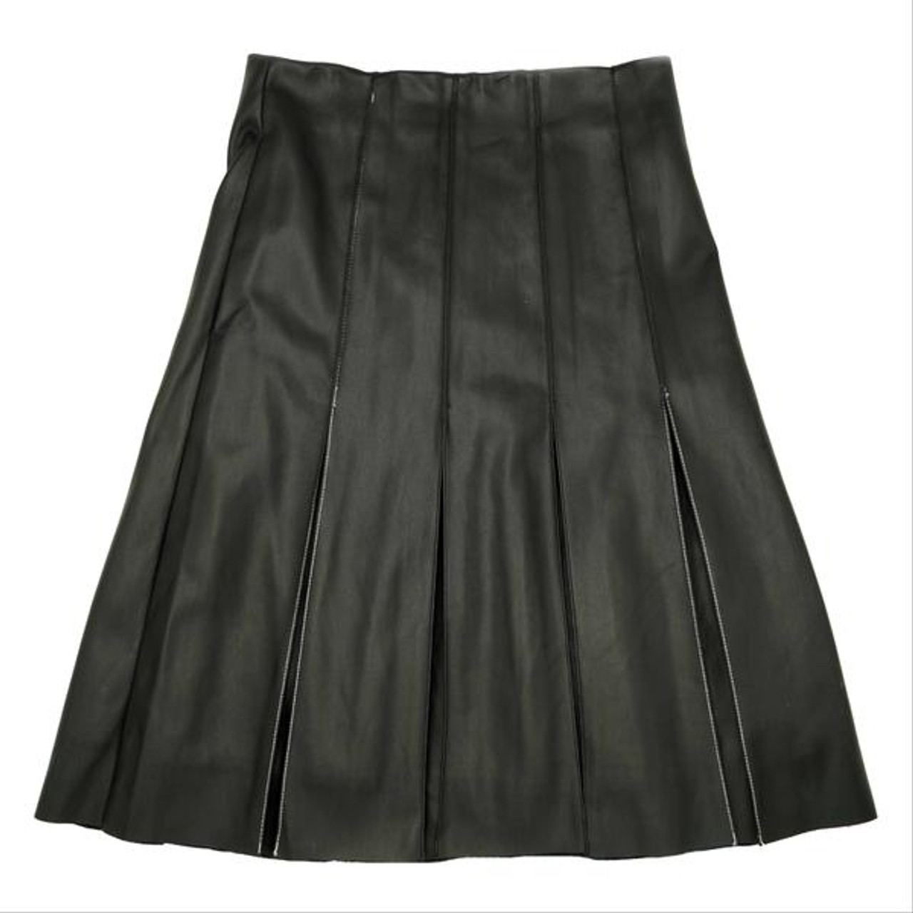 Jupe Womens PU Panel Pleat Skirt - JE-1933