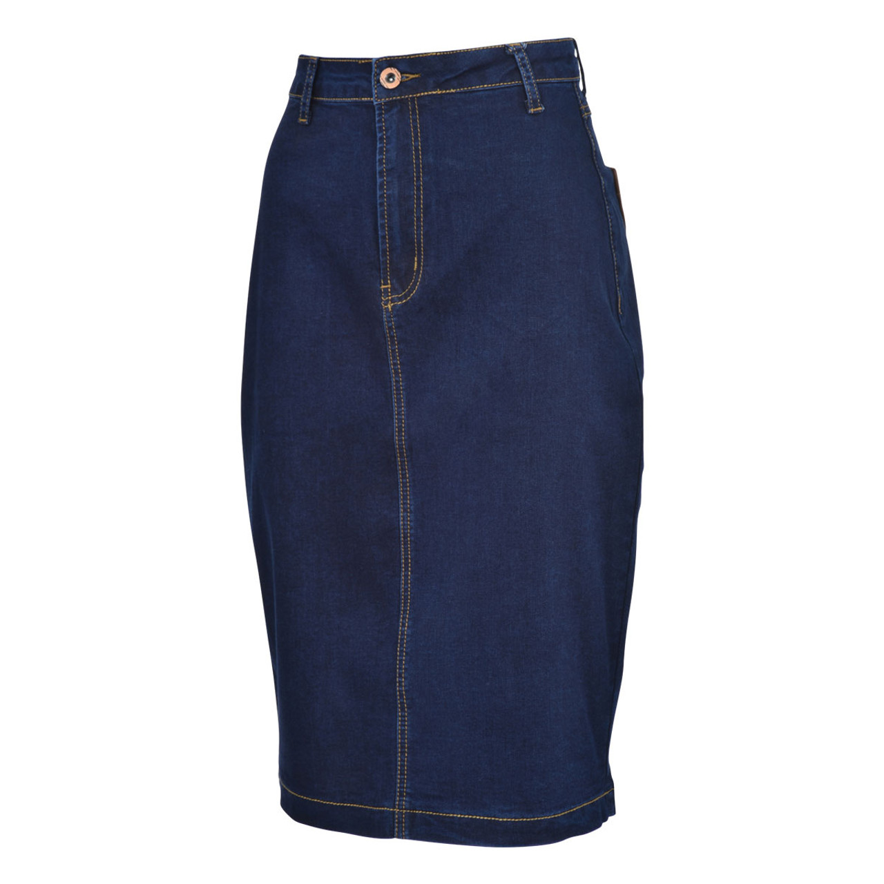 770263483e BGDK Ladies Denim Pencil Skirt With Back Pockets - Double Header USA