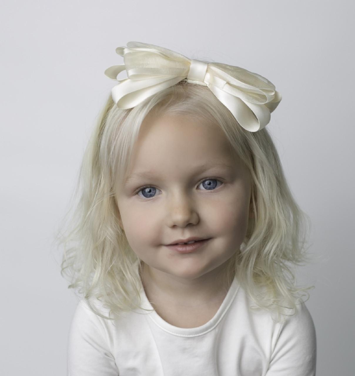 4b184d4deef5 Riqki Ivory Baby Wedding Bow Headband - Double Header USA