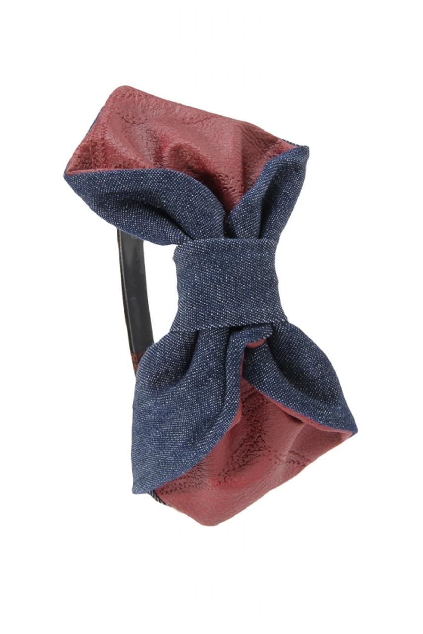 Riqki Denim Leather Bow Headband