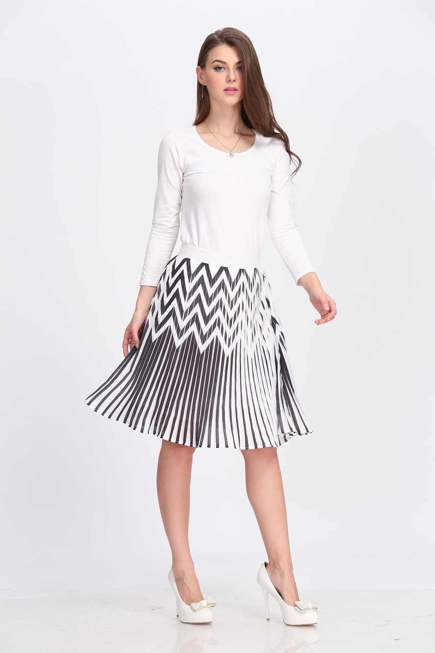 5174c3505a BGDK Ladies Zig Zag Pleated Skirt - Double Header USA
