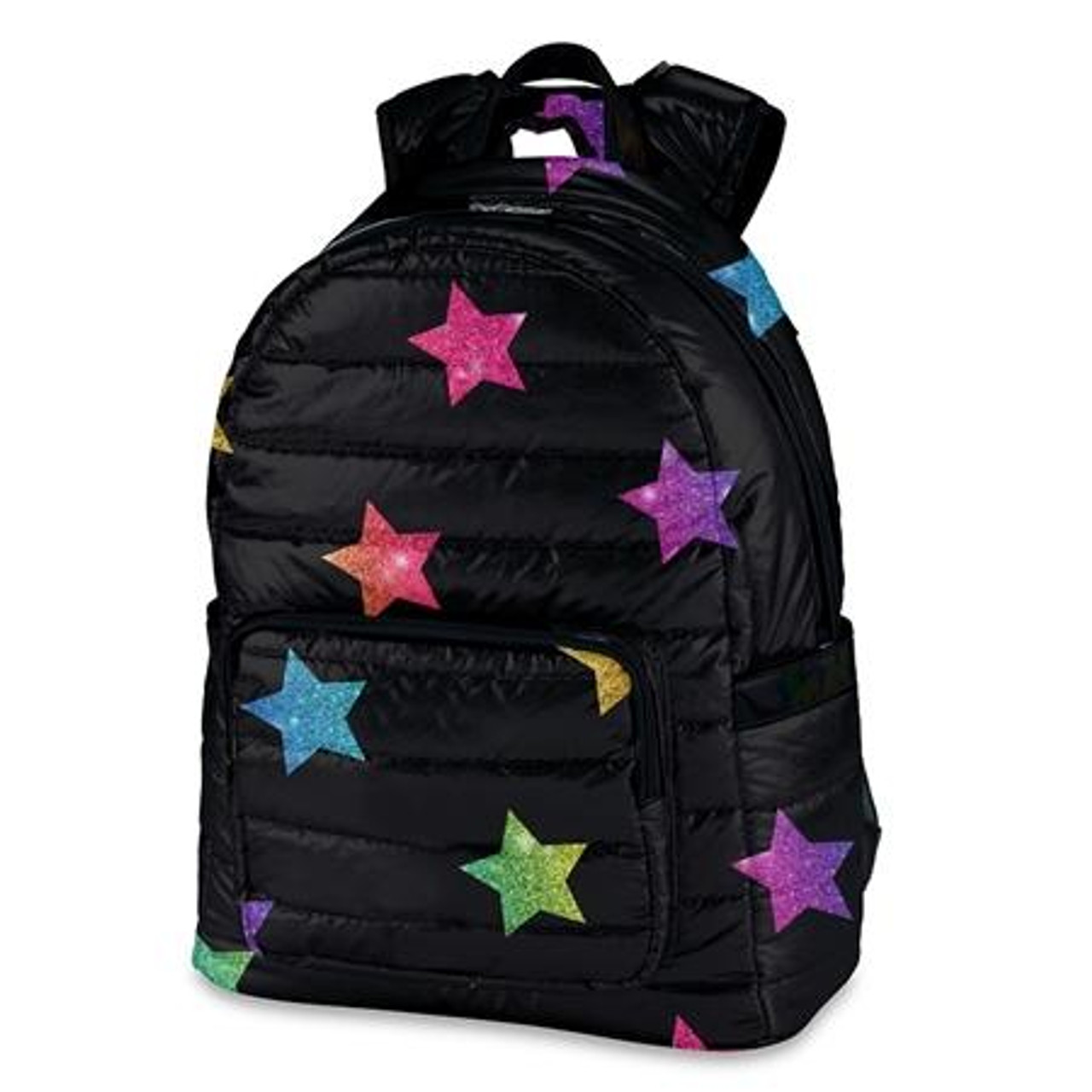 TOP TRENZ Multi Color Stars on Black Puffer Duffel Bag