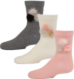 Fur Pom Pom Crew Sock