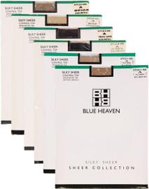 Blue Heaven Womens Silky Sheer Control Top Reinforced Toe Pantyhose