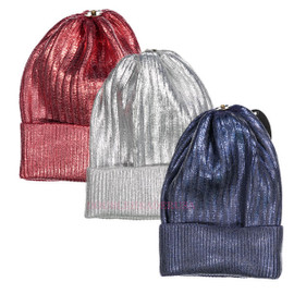 Max Colors Ribbed Metallic Unisex Winter Hat with Snap for Pompom