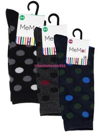 Memoi Boys Two Tone Dot Crew Socks