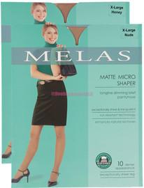 Melas Womens Matte Mirco Shaper Control Top 10 Denier Pantyhose