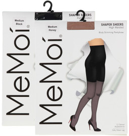 Memoi Womens High Waisted 12 Denier Body Slimming Pantyhose