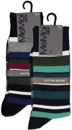 Memoi Mens Stripe Dress Crew Socks