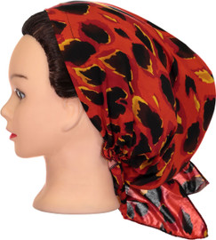 Riqki Womens Orange Leopard Pre-Tied Bandana