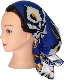 Riqki Womens Cobalt Blue Floral Pre-Tied Bandana