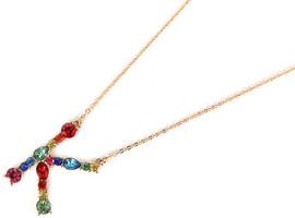 """Viola Crystal """"K"""" Letter Necklace"""