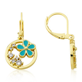 LMTS Girls Turquoise Daisy Leverback Dangle Earring