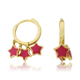 LMTS Girls Hot Pink Stars Dangle Leverback Earring