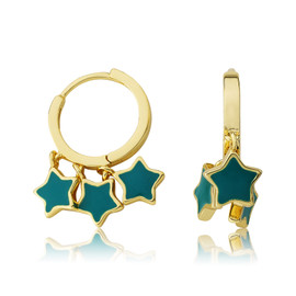 LMTS Girls Turquoise Stars Dangle Leverback Earring