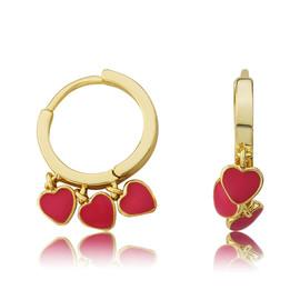 LMTS Girls Hot Pink Hearts Dangle Leverback Earring