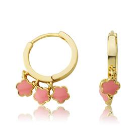 LMTS Girls Pink Flower Dangle Leverback Earring