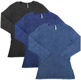 Kiki Riki Womens Ribbed Stonewash 3/4 Sleeve T-shirt