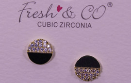 Lamant Gold Dipped CZ Half Crystal Circle Earrings